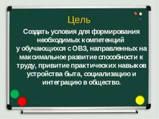 Создать условия для формирования необходимых компетенций у обучающихся с ОВЗ,