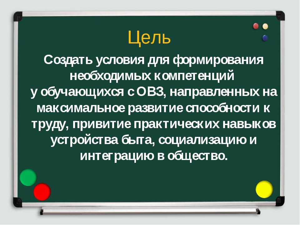Создать условия для формирования необходимых компетенций у обучающихся с ОВЗ,...