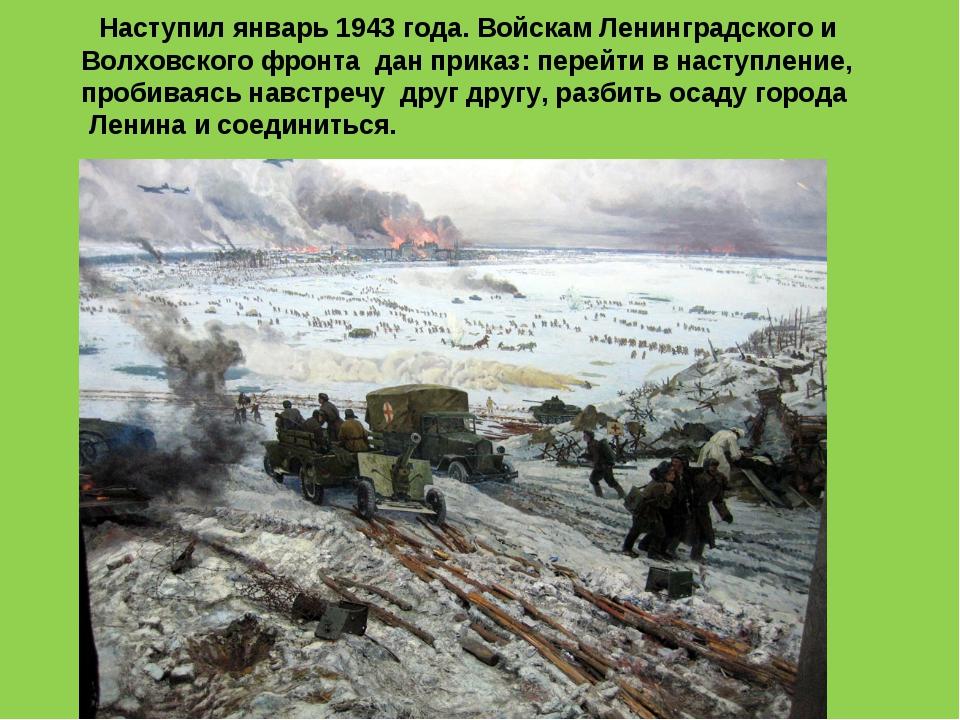 Наступил январь 1943 года. Войскам Ленинградского и Волховского фронта дан п...