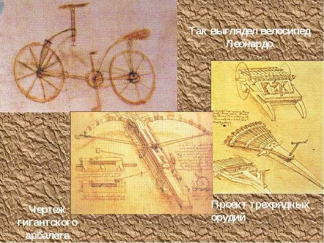Так выглядел велосипед Леонардо. Проект трехрядных орудий.. Чертеж гигантског...