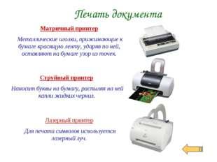 Печать документа Матричный принтер Металлические иголки, прижимающие к бумаге