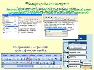 Редактирование текста Автоматический поиск в тексте заданного слова и замена