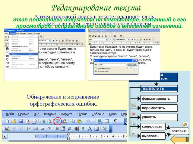 Редактирование текста Автоматический поиск в тексте заданного слова и замена...
