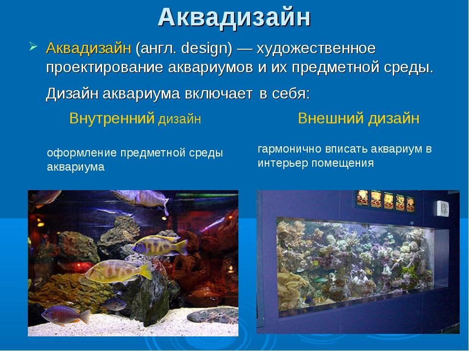 Аквадизайн Аквадизайн (англ. design)— художественное проектирование аквариум...