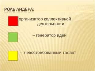 - организатор коллективной деятельности – генератор идей – невостребованный