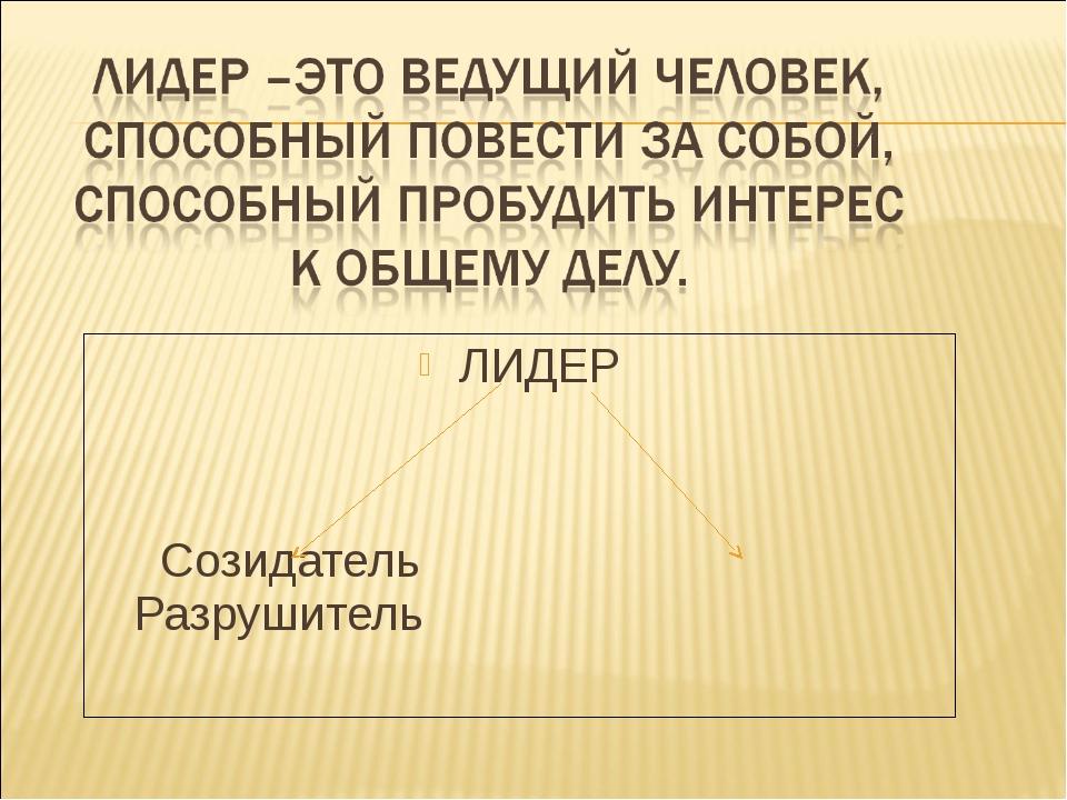 ЛИДЕР Созидатель Разрушитель