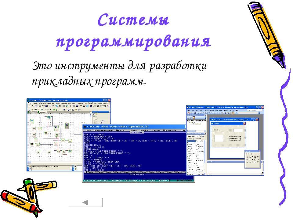 Системы программирования Это инструменты для разработки прикладных программ.