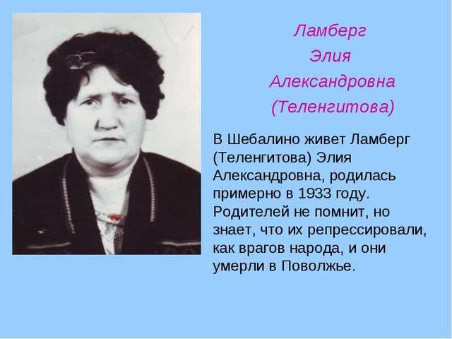 Ламберг Элия Александровна (Теленгитова) В Шебалино живет Ламберг (Теленгитов...