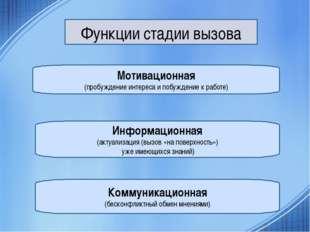 Функции стадии вызова Мотивационная (пробуждение интереса и побуждение к рабо