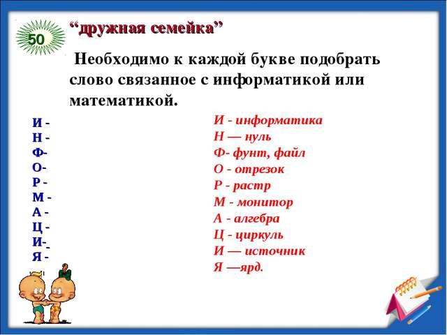 """50 """"дружная семейка"""" Необходимо к каждой букве подобрать слово связанное с ин..."""