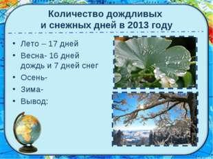 Количество дождливых и снежных дней в 2013 году Лето – 17 дней Весна- 16 дней