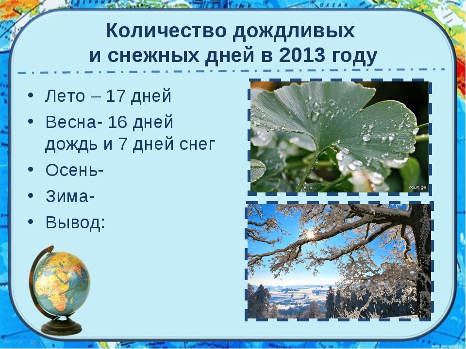 Количество дождливых и снежных дней в 2013 году Лето – 17 дней Весна- 16 дней...