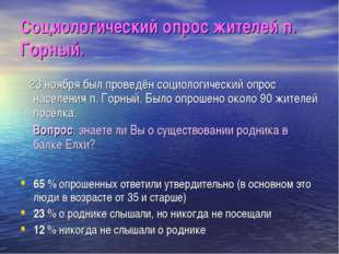 Социологический опрос жителей п. Горный. 23 ноября был проведён социологическ
