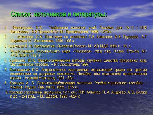 Список источников и литературы: 1. Винокурова, Н.Ф. Глобальная экология: учеб...