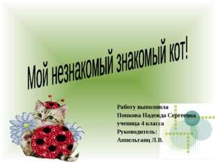 Работу выполнила Попкова Надежда Сергеевна ученица 4 класса Руководитель: Ап