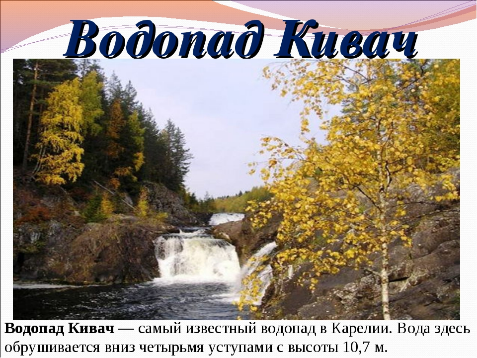 Водопад Кивач Водопад Кивач—самый известный водопад в Карелии. Вода здесь о...