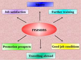 reasons Money Good job conditions Further training Job satisfaction Promotion