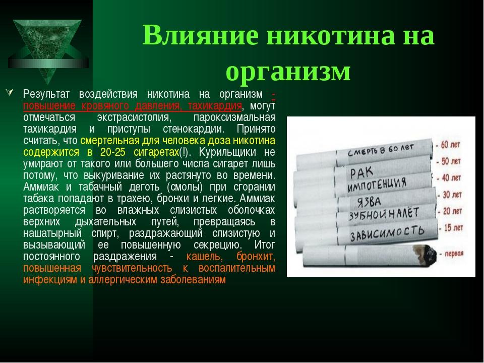 Влияние никотина на организм Результат воздействия никотина на организм - пов...