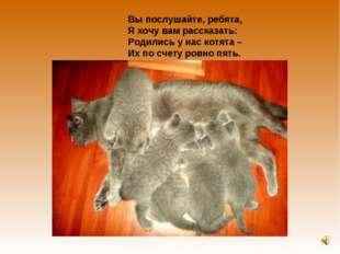 Вы послушайте, ребята, Я хочу вам рассказать: Родились у нас котята – Их по с
