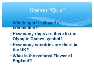 Which sport is played at Wimbledon? How many rings are there in the Olympic G