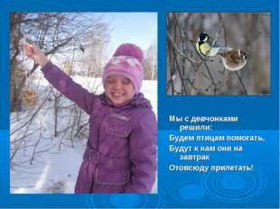 Мы с девчонками решили: Будем птицам помогать, Будут к нам они на завтрак От