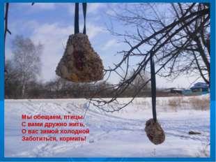 Мы обещаем, птицы С вами дружно жить, О вас зимой холодной Заботиться, корми