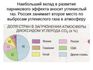Наибольший вклад в развитие парникового эффекта вносит углекислый газ. Россия