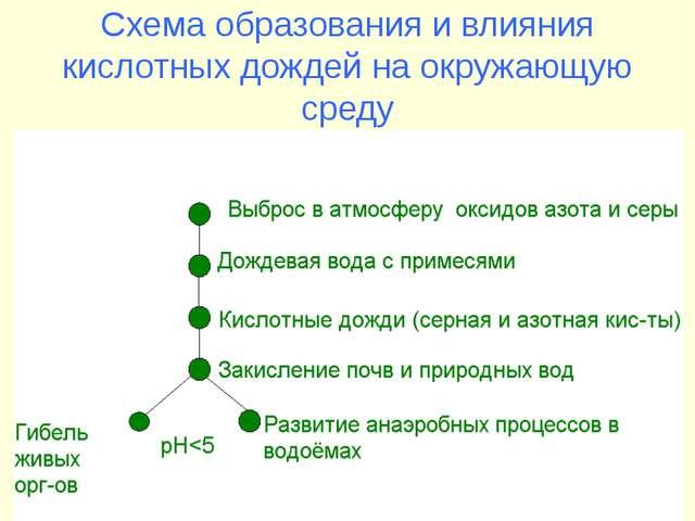Схема образования и влияния кислотных дождей на окружающую среду