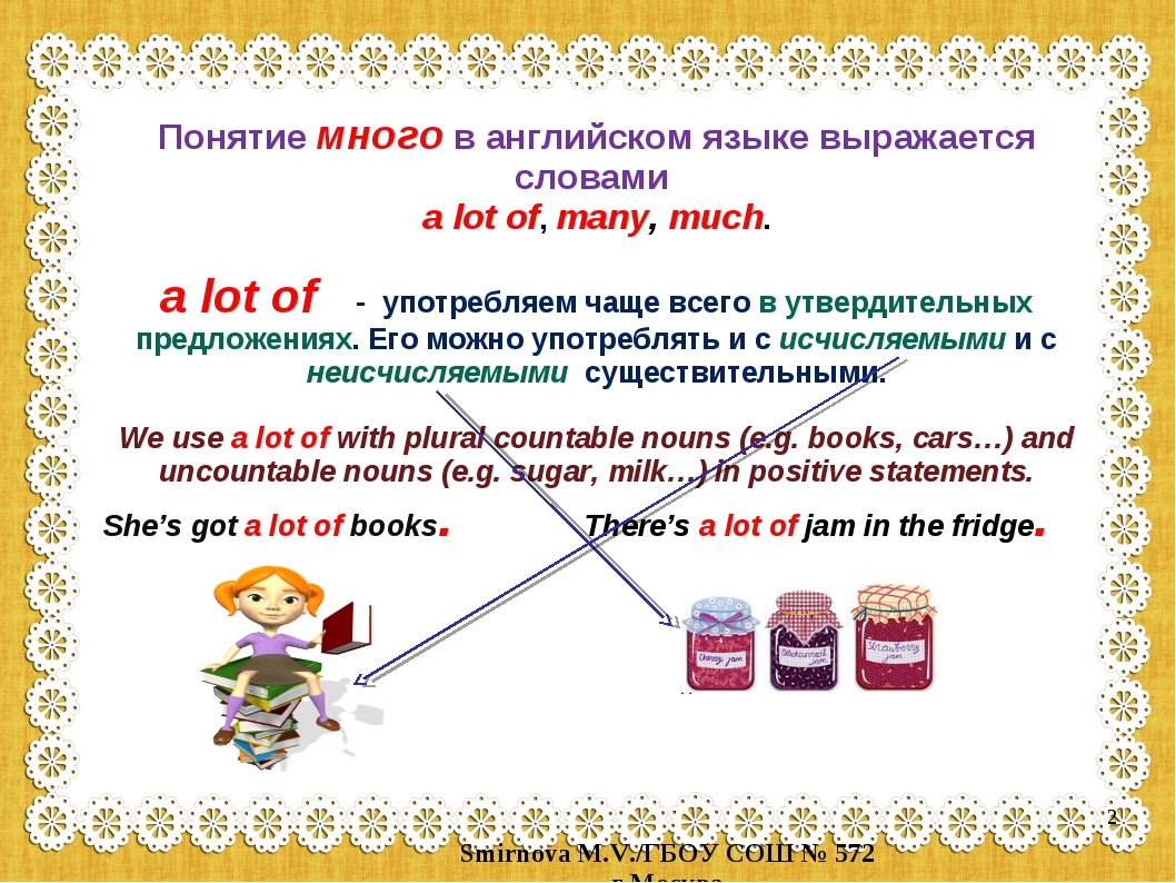 Понятие много в английском языке выражается словами a lot of, many, much. a l...