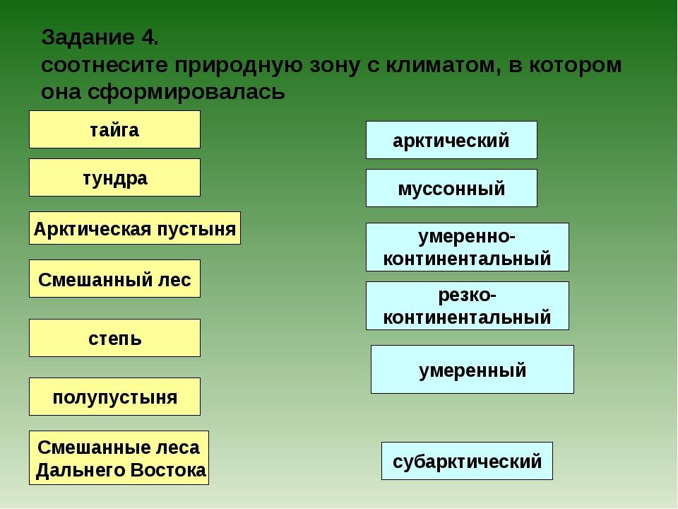 Задание 4. соотнесите природную зону с климатом, в котором она сформировалась...