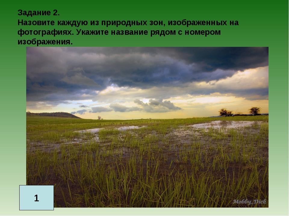 Задание 2. Назовите каждую из природных зон, изображенных на фотографиях. Ука...