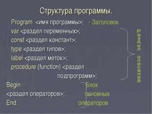 Структура программы. Program ; - Заголовок var ; const ; type ; label ; proce