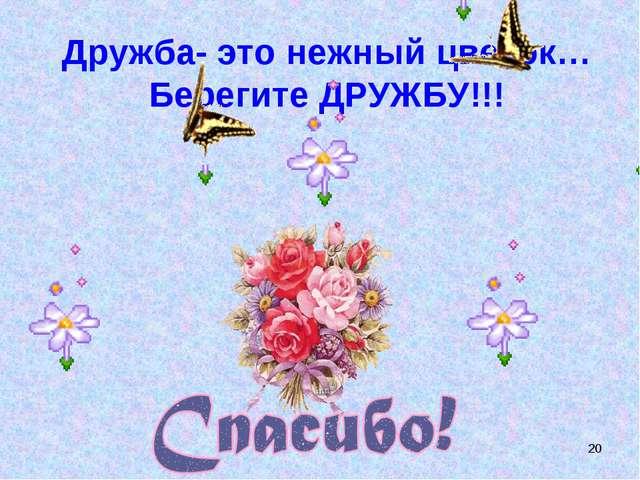 * Дружба- это нежный цветок… Берегите ДРУЖБУ!!!