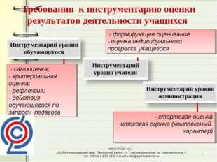 Требования к инструментарию оценки результатов деятельности учащихся - форми