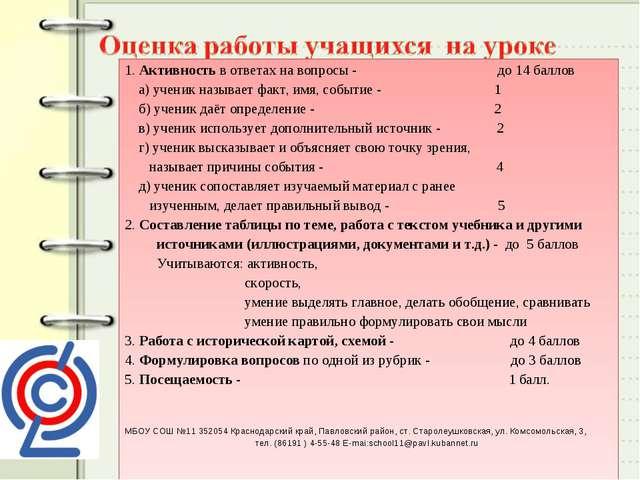 1. Активность в ответах на вопросы - до 14 баллов а) ученик называет факт, им...