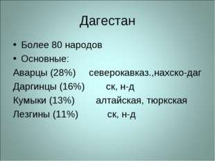 Дагестан Более 80 народов Основные: Аварцы (28%) северокавказ.,нахско-даг Дар
