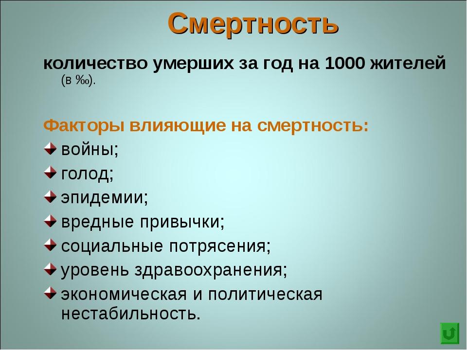 Смертность количество умерших за год на 1000 жителей (в ‰). Факторы влияющие...