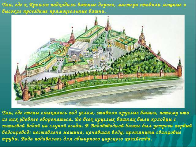 Там, где к Кремлю подходили важные дороги, мастера ставили мощные и высокие п...