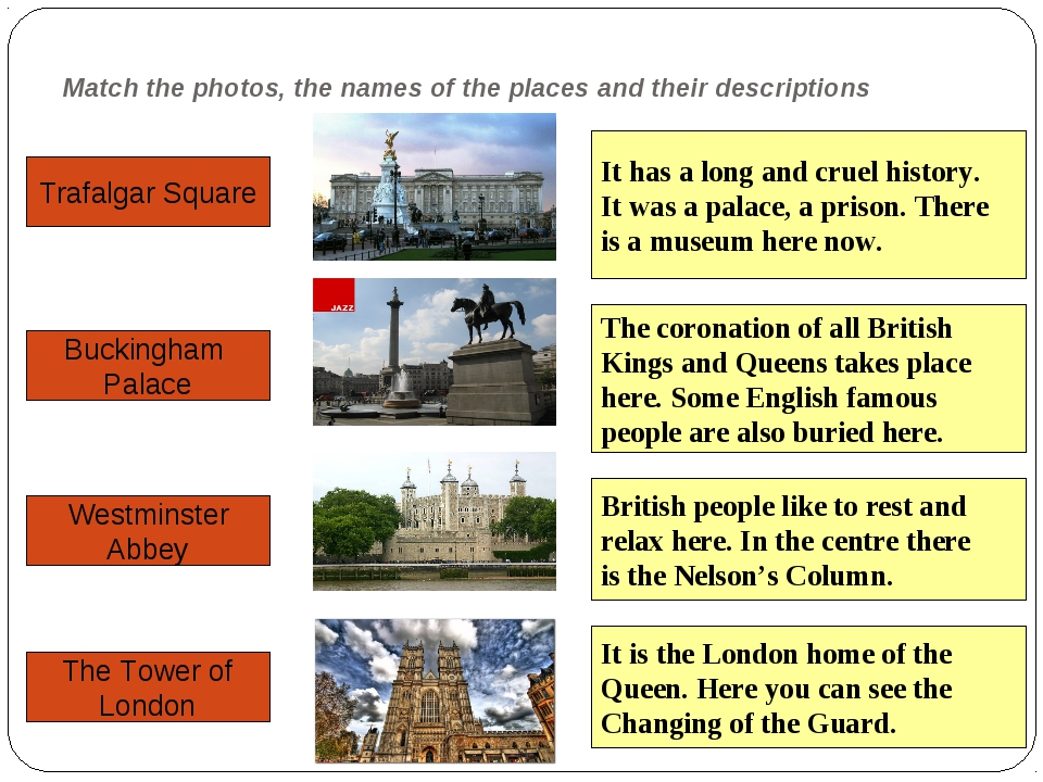 Match the photos, the names of the places and their descriptions Trafalgar Sq...
