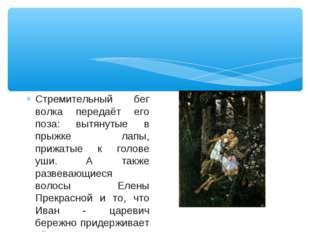 Стремительный бег волка передаёт его поза: вытянутые в прыжке лапы, прижатые