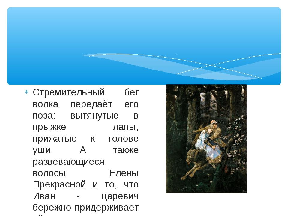 Стремительный бег волка передаёт его поза: вытянутые в прыжке лапы, прижатые...