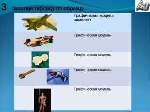 3 Заполни таблицу по образцу Графическая модель самолета Графическая модель