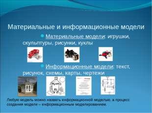 Материальные и информационные модели Материальные модели: игрушки, скульптуры