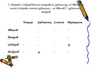 5. Петров и Сидоров вместе позировали художнику, но Иванов не знает Сидорова,