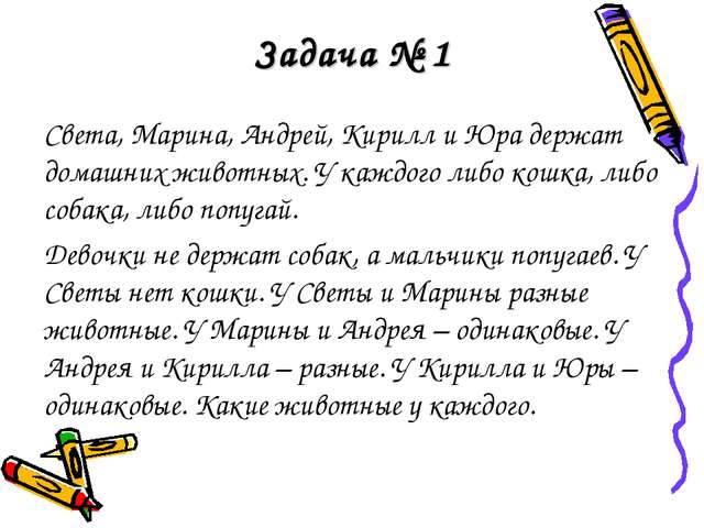 Задача № 1 Света, Марина, Андрей, Кирилл и Юра держат домашних животных. У ка...