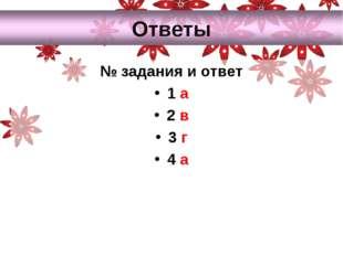 № задания и ответ 1 а 2 в 3 г 4 а