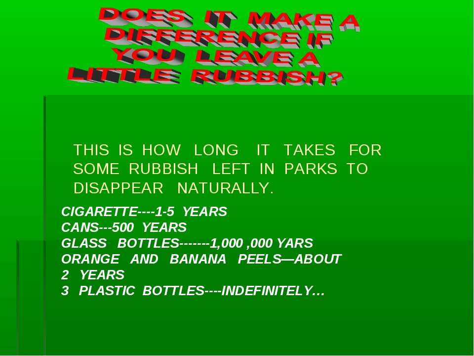 THIS IS HOW LONG IT TAKES FOR SOME RUBBISH LEFT IN PARKS TO DISAPPEAR NATURAL...