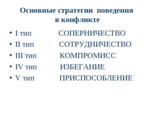 Основные стратегии поведения в конфликте I тип СОПЕРНИЧЕСТВО II тип СОТРУДНИЧ