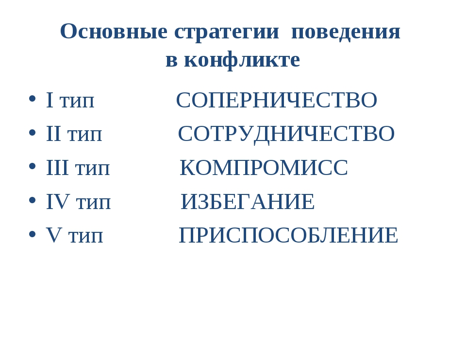 Основные стратегии поведения в конфликте I тип СОПЕРНИЧЕСТВО II тип СОТРУДНИЧ...