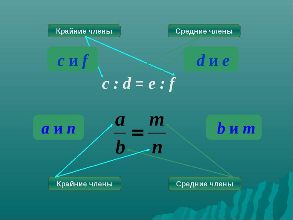 Крайние члены Средние члены c : d = e : f Крайние члены Средние члены d и e c...
